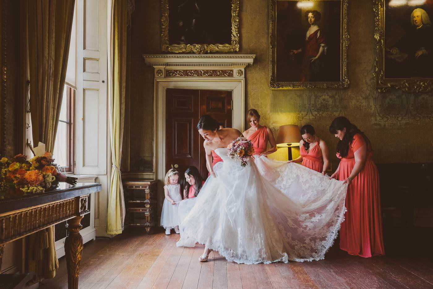 The wedding of Christine and Michael in Syon House, London.