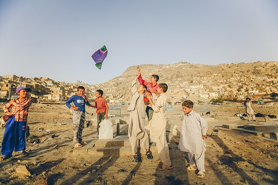 Boys flying a kite in Kabul, Afghanistan | Client: The Times