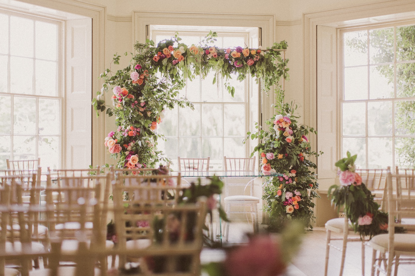 flower arch in ceremony room