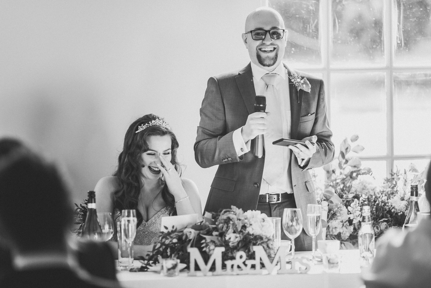 bride reacts to speech